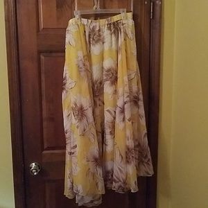 Yellow floral maxi skirt lined